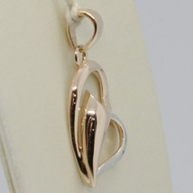18K ROSE & WHITE GOLD DOUBLE HEART PENDANT, CHARMS, FINELY CURVED, MADE IN ITALY image 2