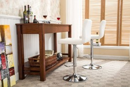 2 Piece Bar Stool Set White Metal Swivel PU Leather Adjustable Hydraulic... - $166.19