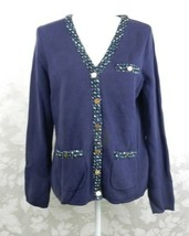 Liz Claiborne Cardigan Sweater Size M Navy Blue Knit Trim Metal Buttons ... - $21.77