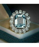 3.00 Ct Aquamarine Vintage Art Deco Halo Engagement Ring 14K White Gold ... - $106.25
