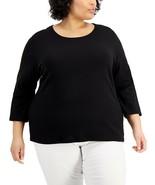 Karen Scott Plus Size Cotton Scoop-Neck Top Deep Black 0X Brand New - $25.70