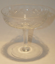 SET 3 CLEAR CRYSTAL SHERBET CUPS CHAMPAGNE GLASSES HAND CUT ETCHED PATTE... - $32.99