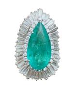 Vintage Ring-dant HUGE Platinum 14k Gold 18 ct Emerald VS Diamond Baller... - $44,550.00