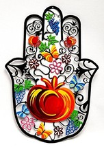 Hand Made High Design Hamsa Hand Pomegranate in Colored Metal Made - $98.90