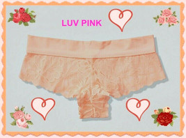 M L XL NEON PEACH Floral Lace PINK StretchWaist Victorias Secret Cheekst... - $10.99