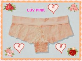 M L XL NEON PEACH Floral Lace PINK StretchWaist Victorias Secret Cheekst... - $10.99