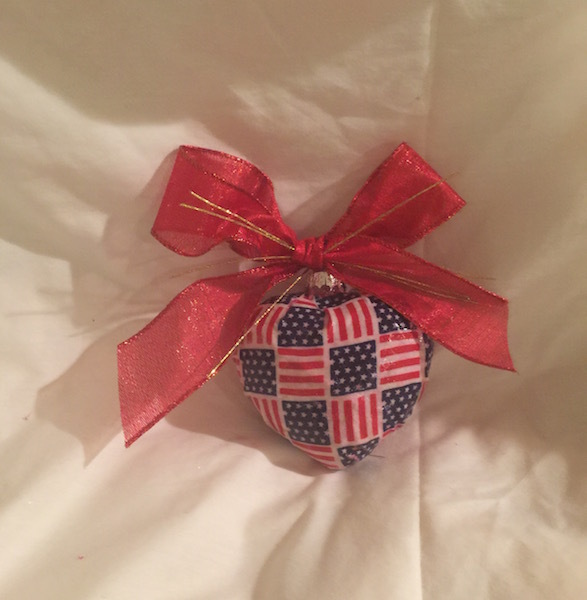 Patriotic Red White Blue Stars Stripes Flag Decoupage Fabric Glass Heart Ornamen