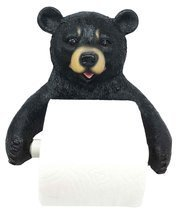 Ebros Whimsical Black Bear Toilet Paper Holder Bathroom Wall Decoration ... - $19.75