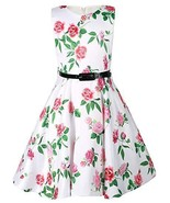 Toddler Girls Vintage Floral Print Swing Party Dresses with Belt Size 6-6x - $14.84