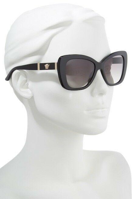 NEW AUTHENTIC VERSACE 54mm Retro Sunglasses Black Gold