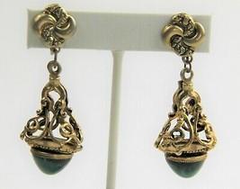 ESTATE VINTAGE Jewelry VICTORIAN REVIVAL SUGARLOAF CABOCHON BAROQUE EARR... - $65.00