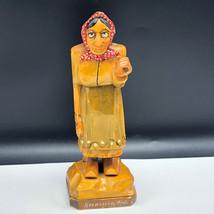 KREUZBERG RHON CARVED GERMANY WOOD FIGURINE statue black forest woman bo... - $148.50