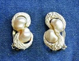 Elegant Faux Pearl & White Enamel Silver-tone Clip Earrings 1960s vintag... - $12.30