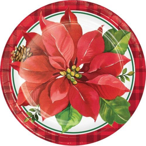 "Christmas Poinsettia Paper 9"" Dinner Plates 8 Ct"