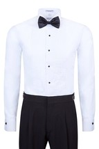 Berlioni Italy Men's Tuxedo Dress Shirt Wingtip & Laydown Collar with Bow-Tie image 2