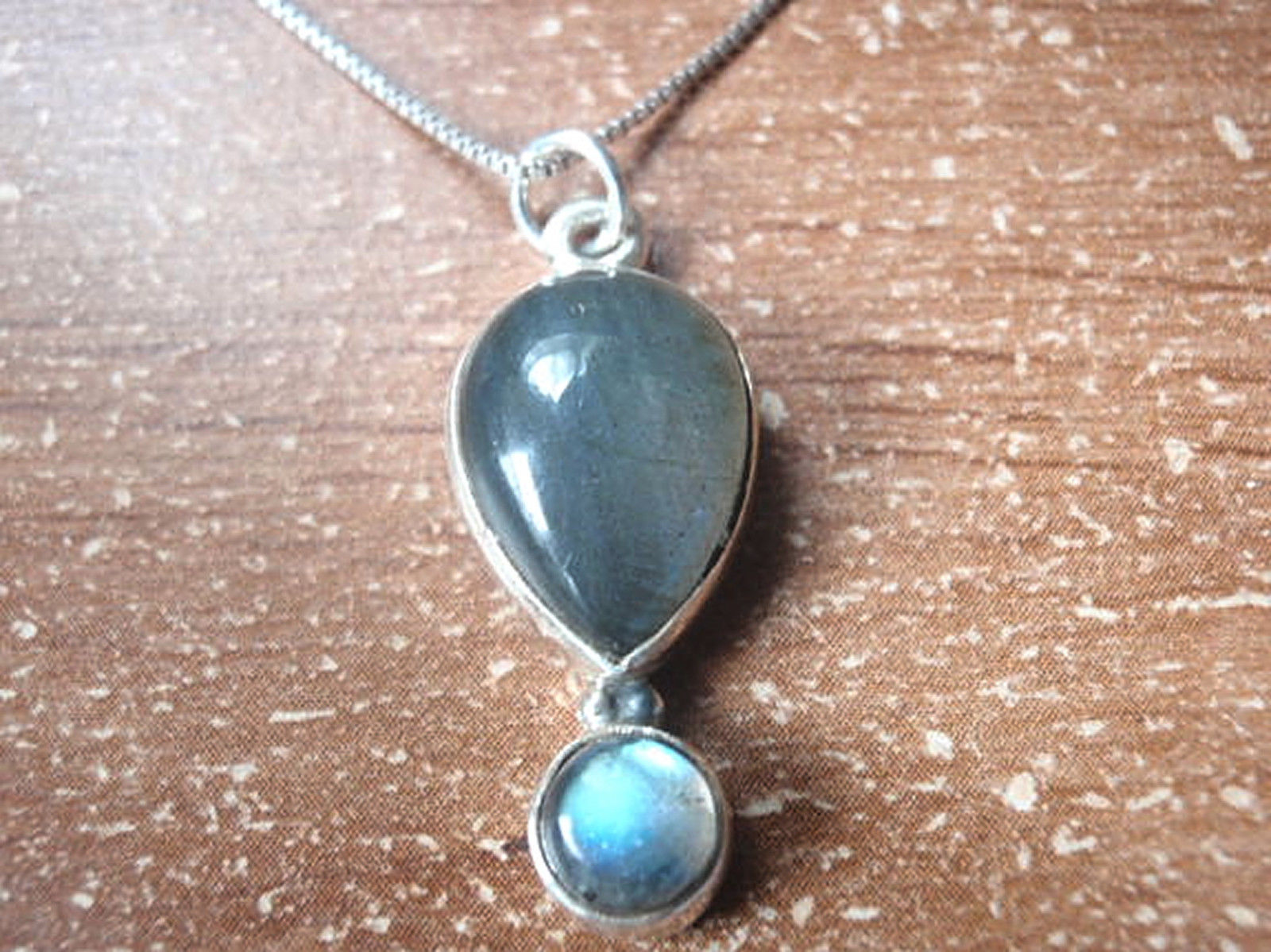 Primary image for Labradorite Double Gem Pendant 925 Sterling Silver Corona Sun Jewelry d16t