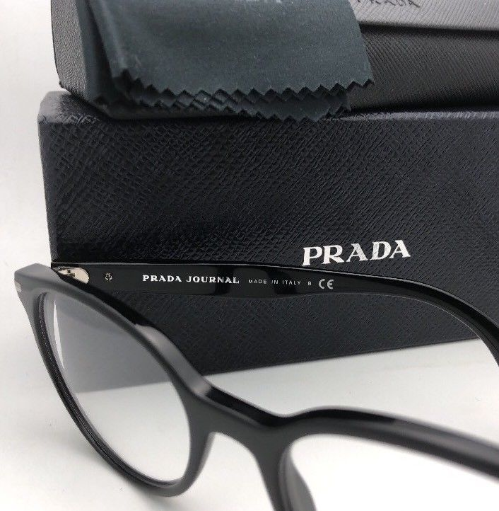 New PRADA JOURNAL Edition Eyeglasses VPR 07T 1AB-1O1 52-19 140 Black Frame
