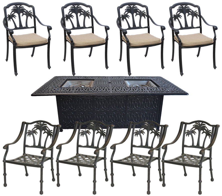 9 piece palm tree dining double buner set