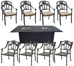 Propane Fire Pit Table Set Patio Cast Aluminum 8 Palm Tree Dining Chairs NEW image 1