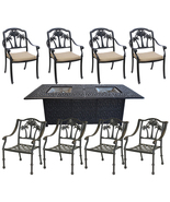 Propane Fire Pit Table Set Patio Cast Aluminum 8 Palm Tree Dining Chairs... - $2,722.49