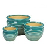 Blue And White Stripe Ceramic 3PC Planter Pot Set - $63.71 CAD