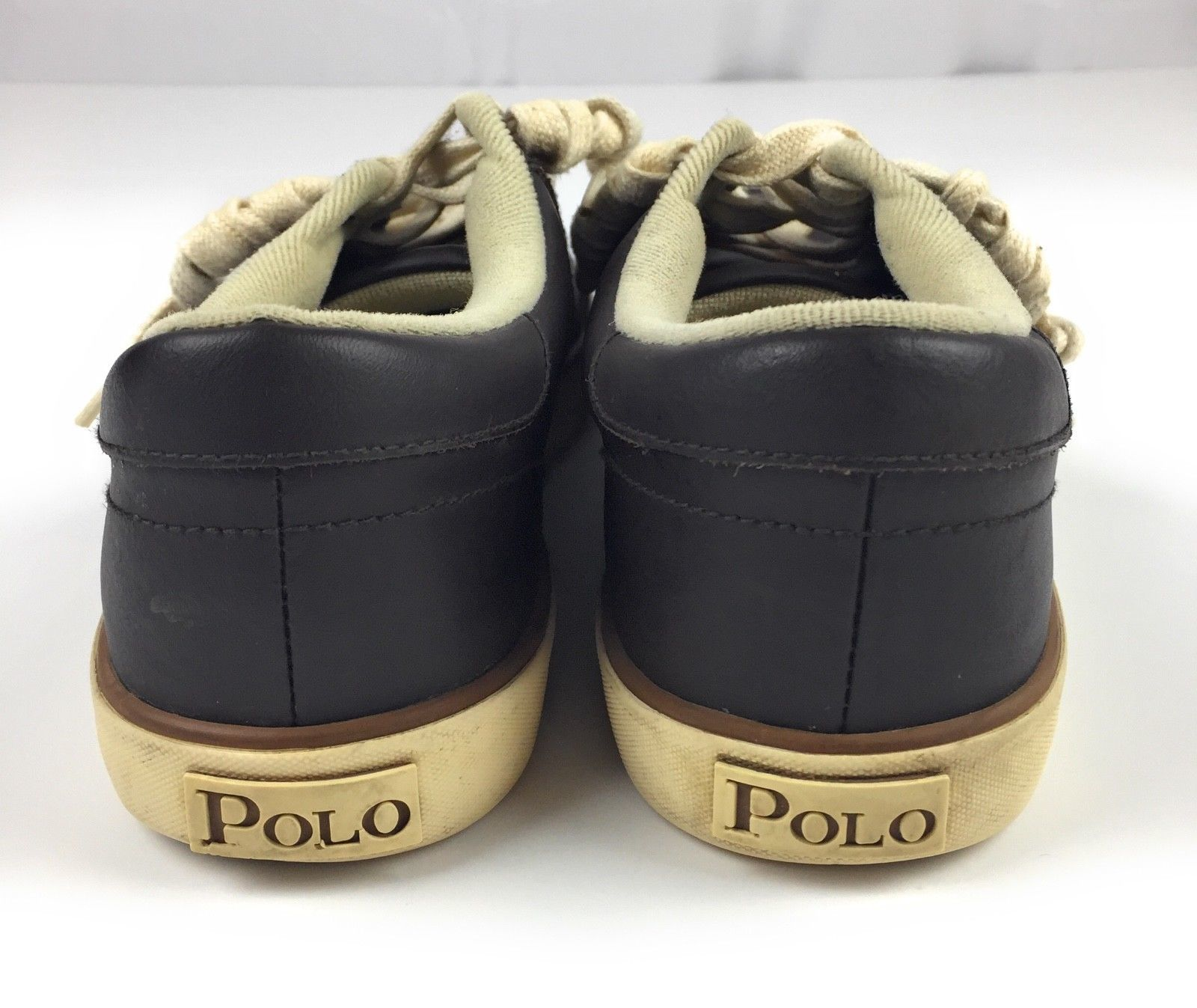 Polo Ralph Lauren Hanford Dark Brown Leather Deck Boat Sneakers Shoes Men's 9.5D