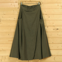 Women A Line Linen Skirt Ankle Length Linen Cotton Casual Skirt,Army Green Navy  image 7