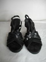 EUC Black Aerosoles strappy Wedge Shoes Sandals buckle Sz 8 1/2 M - $44.54