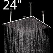"""24"""" Square Ceiling Mount Rainfall LED Shower Head Matt Black Top Sprayer - $653.39"""