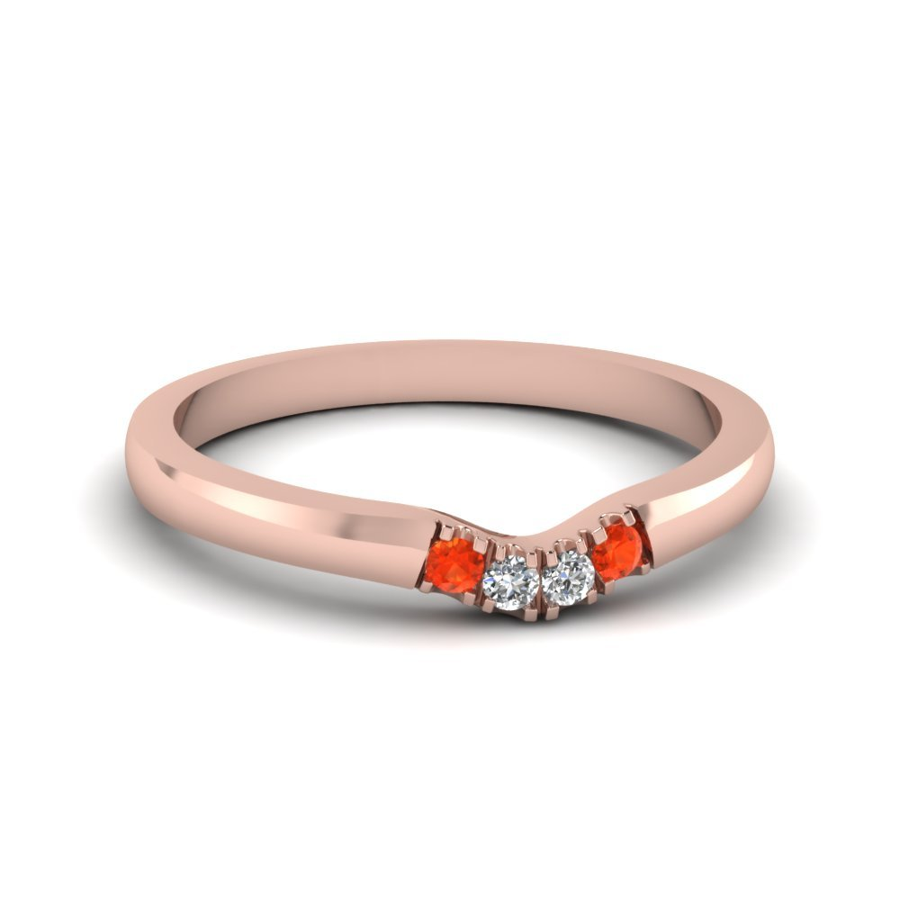 Primary image for Classic Poppy Topaz & CZ Diamond 14K Rose Gold FN Curved Wedding Band Ring
