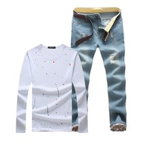 Autumn Winter Fashion Long Sleeved T Shirt And Jeans Trousers Set mens suit - $36.72