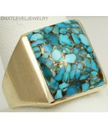 Vintage SIGNED 1940's Natural Mosaic Turquoise 10k Solid Yellow Gold Men... - $559.35