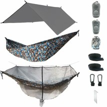 The Ultimate 3 In 1 Camo Camping Hammock Rainfly Bundle With Fully Detac... - $83.39