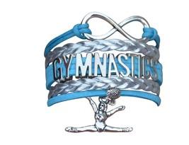Gymnastics Leather Charm Bracelet SILVER-SPORTS-ADJUSTABLE-TURQUISE, Silver - $8.99