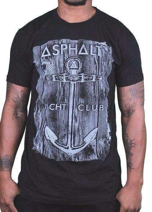 Asphalt Yacht Club Skateboarding Cali Black Mens Anchor Wood T-Shirt AYC NWT