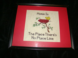 Vtg WOODSTOCK Bird Nest Cross-stitch Framed Picture Snoopy Peanuts Home ... - £6.95 GBP