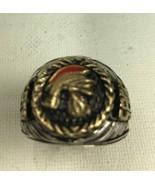 10 karat gold Roman Centurion Mens sterling silver pinky ring - $172.00