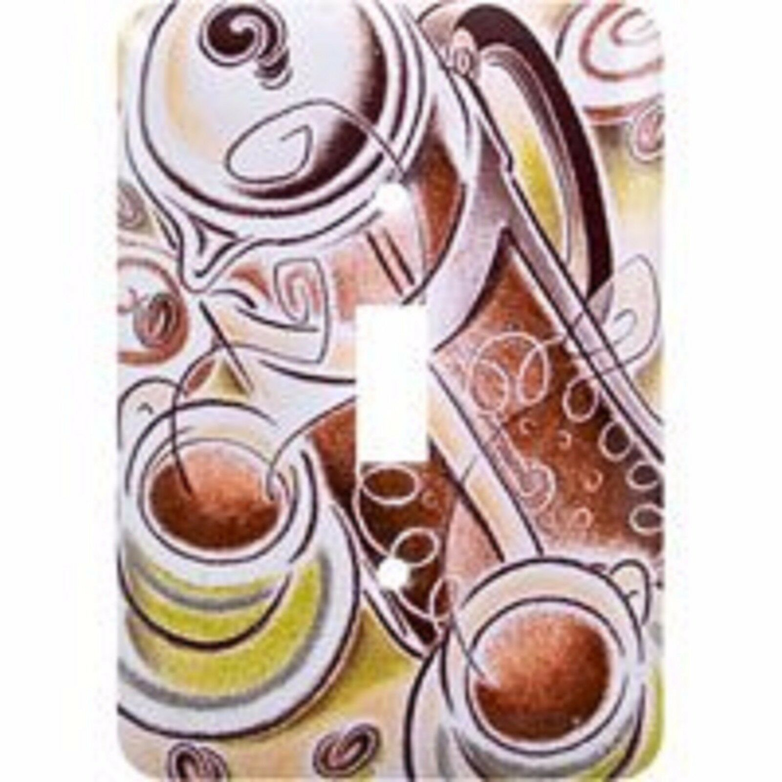 Coffee Scene Single Switch Wall Plate Painted Steel GE 40128 - $15.83