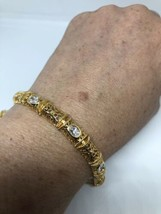 Art Deco Vintage Genuine Clear Crystal Gold Finish 925 Sterling Silver B... - $183.15