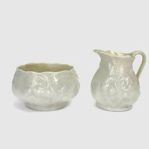 Vintage Belleek Porcelain Fermanagh Ireland Lotus Creamer Sugar 3rd Blac... - $23.28