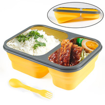 2 Cells Silicone Collapsible Lunch Box Microwave Oven Bowl Folding Food ... - $30.50