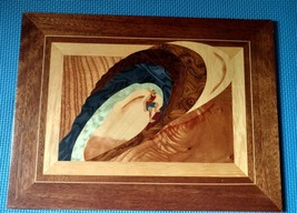 wooden painting of surfer - $6.42
