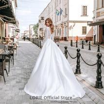Long Sleeve Soft Satin V-Neck High Slit Long Sleeve A-Line Beach Wedding Dress image 2