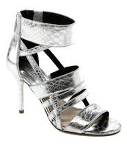 Michael Kors Shiloh Open Toe Metallic Embossed Leather, Silver Size 10 M - $93.49