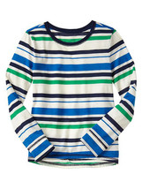 GAP Kids Girls T-shirt Tee 6 7 Long Sleeve Cute Crew Neck Green Navy Str... - $14.84