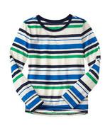GAP Kids Girls T-shirt Tee 6 7 Long Sleeve Cute Crew Neck Green Navy Str... - $14.84