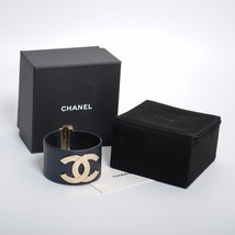 CHANEL Navy Blue Leather Wide Cuff Bracelet CC Logo Gold Tone Metal with Box - $768.40