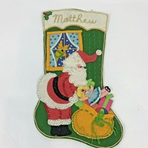 Vintage Felt Stocking Santa Sack of Toys Sequin Beaded Reindeer Doll Han... - $29.69