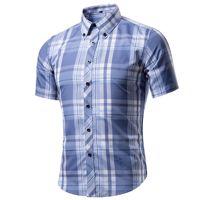 Primary image for VERTVIE Men Shirt Brand Classic Plaid Solid Short Sleeve Dress Shirts Men's Turn