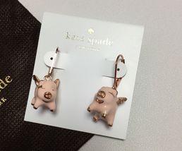 NEW KATE SPADE Rose Gold Pink Multi Imagination Pig Drop Earrings W/ KS ... - $33.99